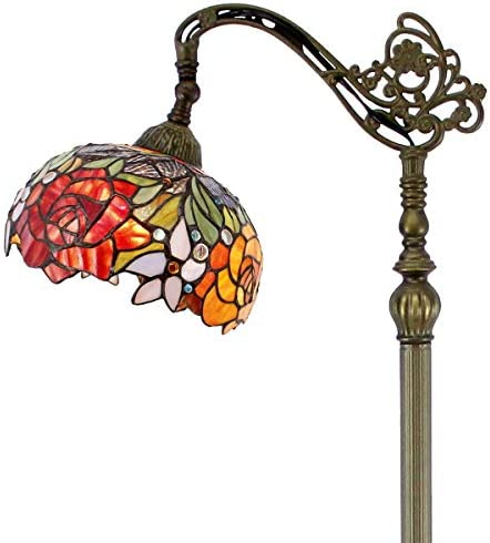 Tiffany Style Reading Floor Lamp Lighting W10H64 Inch Red Yellow Stained Glass Double Rose Lampshade Antique Adjustable Arched Base S001 WERFACTORY Lamps Living Room Bedroom Beside Table Lover Gift