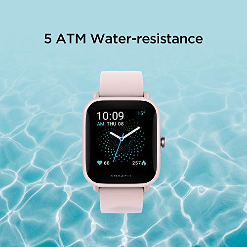 Amazfit Bip U Health Fitness Smartwatch with SpO2 Measurement, 9-Day Battery Life, Breathing, Heart Rate, Stress, Sleep Monitoring, Music Control, Water Resistant, 60+ Sports Modes, HD Display (Pink)