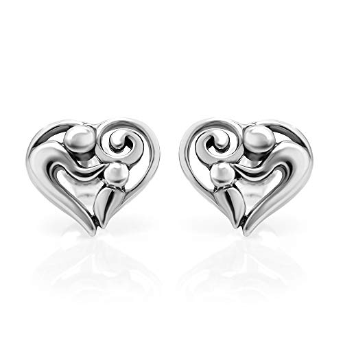 925 Sterling Silver Heart Shaped Mom and Child 11 mm Post Stud Earrings (Mother Child Ring)