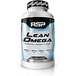 RSP LeanOmega - 2-In-1 Fish Oil Fat Burner, Daily CLA Omega 3 Capsules for Weight Loss, Joint Health and Better Immune Function, 120 Softgels