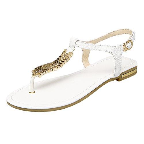 YE Damen Flache Ankle Strap Sandalen Zehentrenner mit Schnalle und Kette Bequem Schuhe WgeNV81b