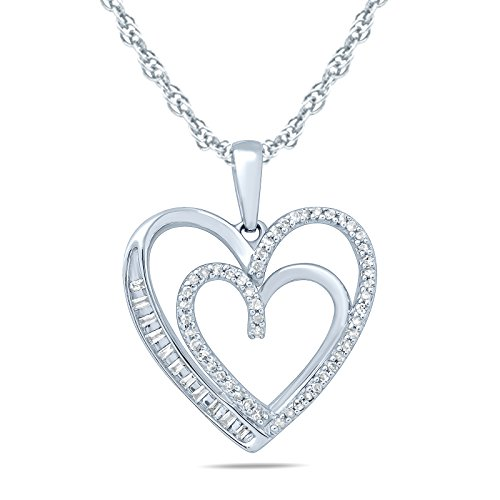 - 1/5 Carat TW Baguette and Round Diamond Heart Pendant in 10K White Gold