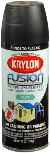 (Krylon K02519007 Fusion for Plastic Aerosol Spray Paint, 12-Ounce, Flat Black)