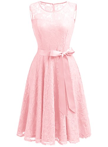 Dressystar Vestido Fiesta Corto Encaje Estampado Flor Elegante Mujer Sin Manga Vestido para Madrina Pink