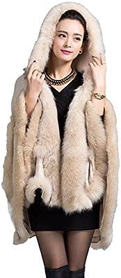 La imitación de la Mujer cuello chal capa de piel de zorro ...