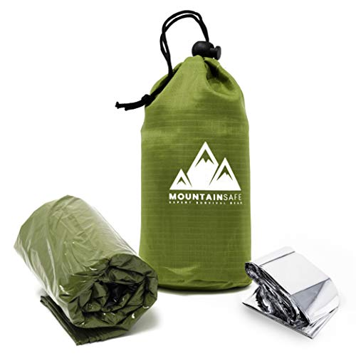 MountainSafe Emergency Tactical Thermal Waterproof Bivy Sack Sleeping Bag + Bonus Mylar Survival Blanket - Superior Ultralight Reflective Expert Survival Gear for Outdoor Hiking, Survival First Aid