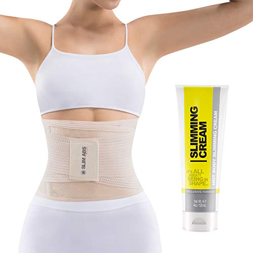 (Slim Abs Waist Trainer Corset Belt with Slimming Cream - Waist Trimmer for Women and Thermogenic Workout Sweat Gel (M/L, Beige))