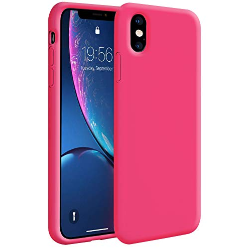 Hot Pink Rubber Case - iPhone Xs Max Case,Zuslab Soft Slim Thin Silicone Gel Rubber Bumper Cover for Apple iPhone Xs Max Phone Hard Shell Shockproof Full-Body Protective Case - Hot Pink