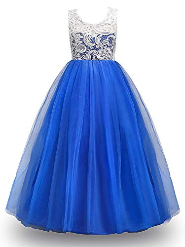 MOREMOO Big Girl Lace Pageant Gowns Bridesmaid Wedding Tulle Party Dress(Blue 5-6 Years) ()