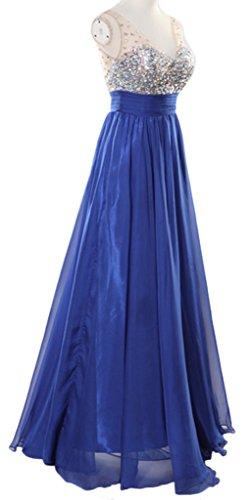 Eyekepper Vestido de Baile Largo de Fiesta de Noche de Novia de La Gasa Con Lentejuelas de Cuello en V de Las Mujeres Azul