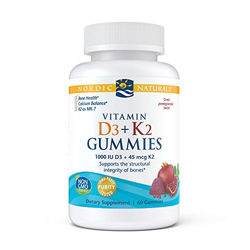 Nordic Naturals Vitamin D3+K2 Gummies – Vitamin D3 from Natural Cholecalciferol for Optimal Calcium Absorption With Vitamin K2, Aids in Formation of Bones for Growth, Pomegranate Flavor, 60 Count
