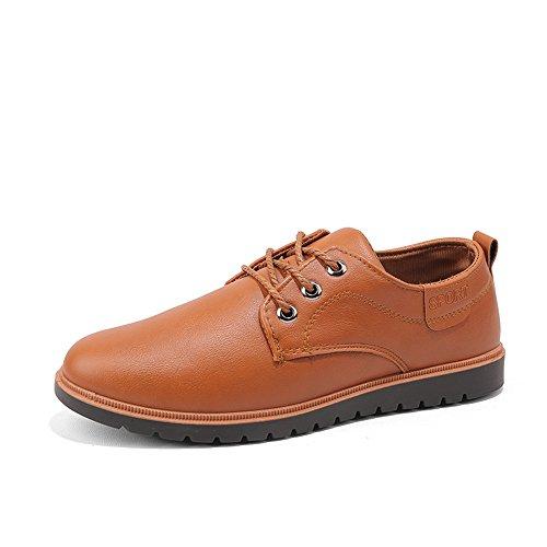 los Hombres los Oxford Color shoes tamaño en talón 2018 Zapatos Amarillo 43 Zapatos Formales Slip del Plano Fang de de los Hombre EU Cuero de Zapatos sólido Amarillo zHTqnwv