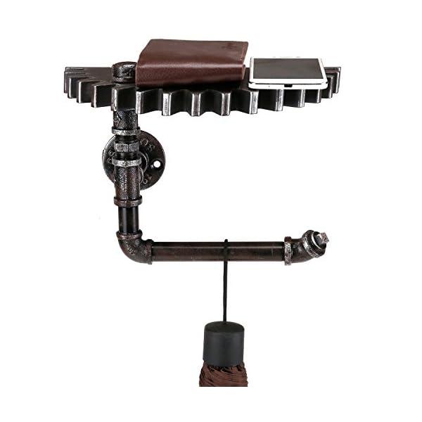 Wall Mounted Floating Shelf, Steampunk Industrial Metal Pipe Rack with Gear Design Wood Shelf 4
