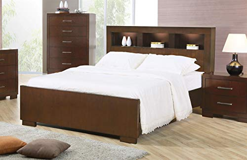 Jessica Eastern King Bed with Storage Headboard and Built in Lighting Cappuccino ()
