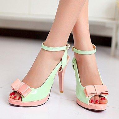LvYuan Mujer Sandalias Semicuero PU Verano Otoño Paseo Pajarita Tacón Stiletto Blanco Verde Rosa 10 - 12 cms Green