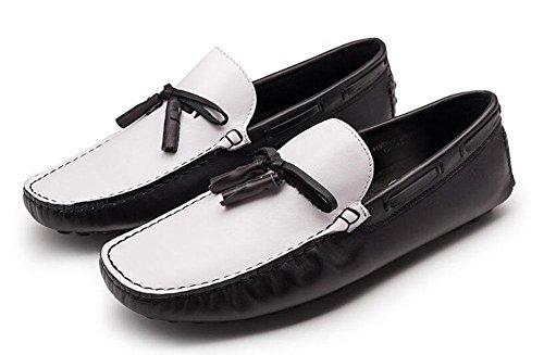 Calça De De Couro Genuínos Condução Casual Suaves Sapatos em Preto De Homens Deslizamento Verão Sapatos Apartamentos Oxford 38 Respirável qXHt8qSA0