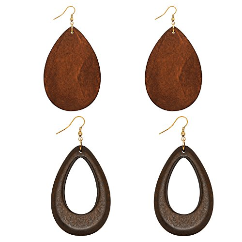 Wowanoo Natural Wood Earrings Geometric Earrings Wooden Water Drop Earrings for Women Statement Earrings DroBrown