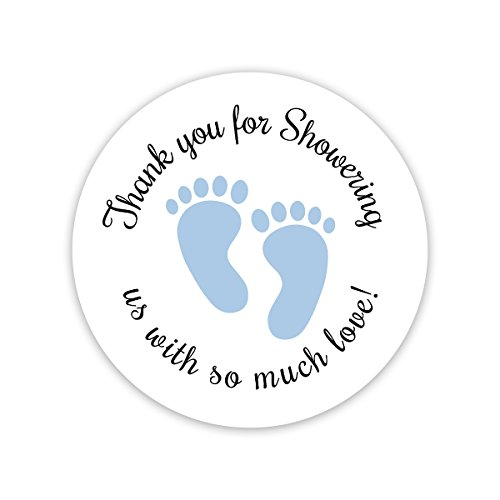 60 Baby Shower Stickers, Thanks for Showering us, Boy Shower Stickers (#371-B)