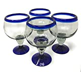 Mexican Hand Blown Glass – Set of 4 Hand Blown Chabela Glasses (18 oz)