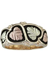 Antiqued Fancy Band, 10k Yellow Gold, 12k Green and Rose Gold Black Hills Gold Motif