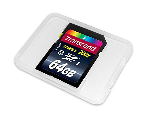 Transcend 64GB SDXC Class 10 Flash Memory Card Up to 30MB/s (TS64GSDXC10E)