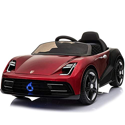 Poooc Children's Electric Car Four-Wheeled Baby Toy with Remote Control Vehicle Battery Charging Little Boy Girl Four-Wheel Drive Boys and Girls Can Sit Remotely Two-seat Stroller Ride On,Red