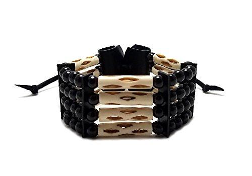 - Handmade Traditional 4 Row Buffalo Bone Hairipe Beads Tribal Bracelet