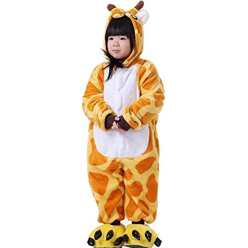 ABING Halloween Pajamas Homewear OnePiece Onesie Cosplay Costumes Kigurumi Animal Outfit Loungewear,Giraffe Chidren Size 125 -for Height:138-148cm