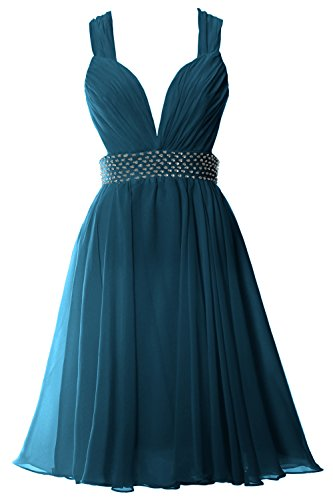 V Short Chiffon MACloth Formal Dress Gown Sexy Women Neck Teal Prom Straps Party 1qHqU