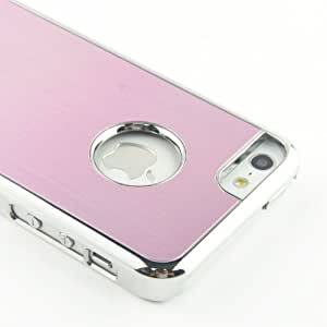 MagicSky Deluxe Brushed Metal Chorme Hard Case for iPhone 5C - 1 Pack - Retail Packaging - Baby Pink