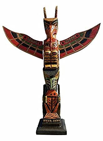 20quot Handcarved Wood Fish Totem Pole With Detachable Wings