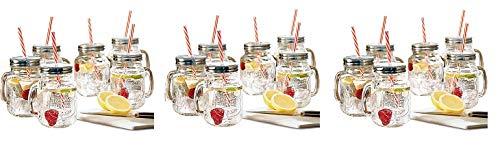 Estilo Mason Jar Mugs with Handle and Straws Old Fashioned Drinking Glass Set 6, 16 oz Each (3)
