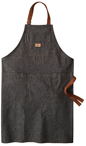 Dickies Chef Unisex-Adults Denim Bib Apron with Brown Straps, Black Denim/Brown Straps, OS by Dickies (Image #1)
