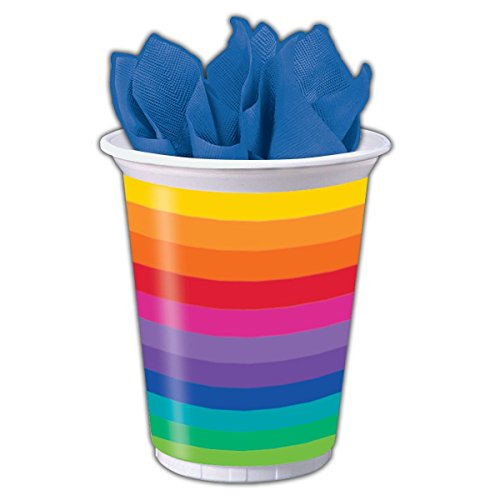 Creative Converting Printed Plastic Cups, 16 oz, Rainbow (8-Count) (Gay Pride Decorations)