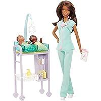 Barbie Careers Baby Doctor Doll Playset, Morena