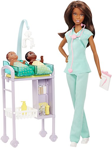 Barbie Muñeca Profesiones Doctora Pediatra con 2 Pacientes