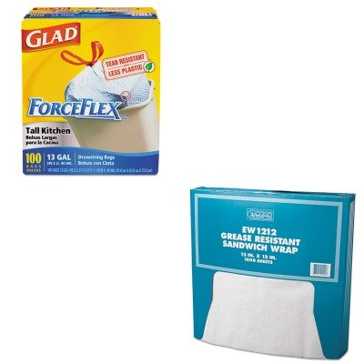 KITBCP057012COX70427 - Value Kit - Packaging Dynamics Grease-Resistant Paper Wrap/Liner (BCP057012) and Glad ForceFlex Tall-Kitchen Drawstring Bags (COX70427)