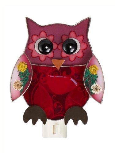 - Purple Owl With Dried Flowers NightLight by Ganz