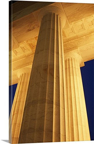 Premium Thick-Wrap Canvas Wall Art Print entitled Low-angle view of Lincoln Memorial columns illuminated at night, Washington, District of Columbia - Illuminated Lincoln Memorial