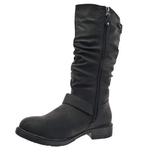 Kickly - Chaussure Mode Botte Bottine mi-mollet femmes Etoile Talon bloc 3 CM - Noir