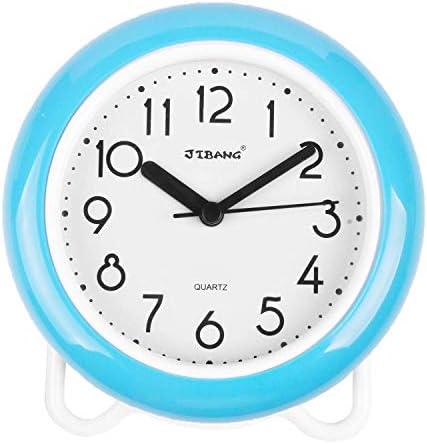 YINMING Bathroom Waterproof Clock, 7 Inches Non-Ticking Number Quartz Wall Clock, Adorable Desk Shelf Clock, Living Room Decorative Indoor Clock, Kitchen Clock, Shower Clock,are Anti-Fog, Sky-Blue