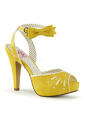 Pin Up Couture Women's Bettie-01 Sandal, Yellow Faux Leather, 8 M (Couture Shoes Heels)
