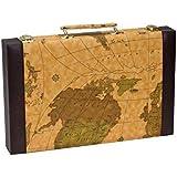 CHH Imports 15 Inch Backgammon Set In Brown Vinyl Map Design Case