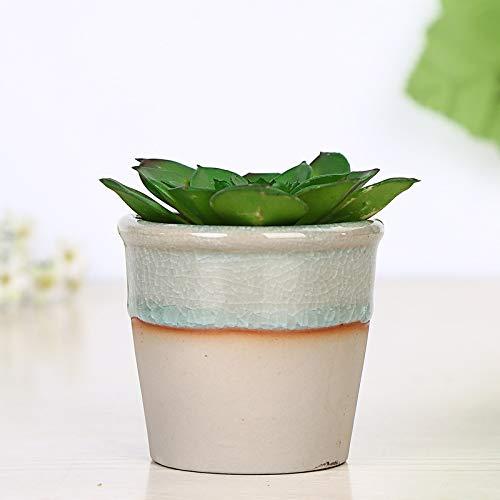 Ice Cracked Glazed Stoneware Mini Orange Striped Cylindrical Micro Landscape Ceramic Green Plant Pot, High Temperature White Porcelain Flower Pot, Flower Pot Holder, Flower Pots Indoor Outdoor