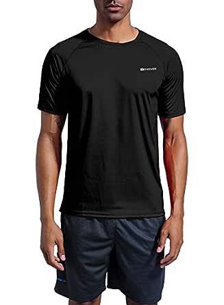 ZENGVEE Mens UPF 50+ Swim Shirts Short Sleeve Sun Protection Shirts for Outdoor UV Fishing, Rashguard(Black,S)
