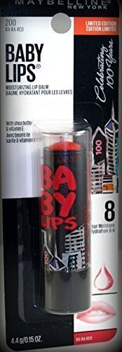 Maybelline Baby Lips 100 Year Anniversary Limited Edition Moisturizing Lip Balm ~ # 200 Ra Ra Red ~ .15 oz (Quantity 1)