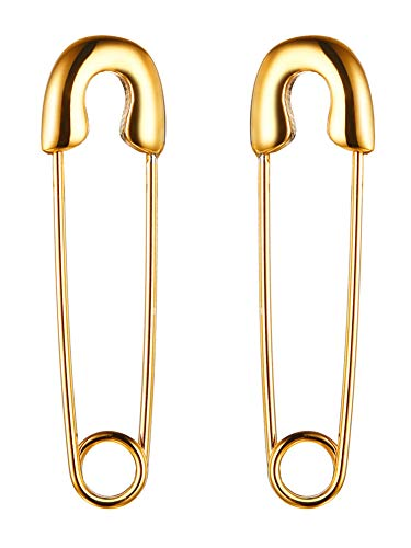 (Gold Plated Stainless Steel Stylish Cartilage Earrings Punk Goth Safety Pin Earrings for Women Girl)
