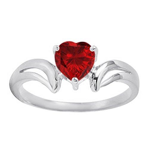 1.13 Ct Heart-Shape Lab-Created Gemstone 925 Sterling Silver Heart Promise Ring (Lab Created Gems)