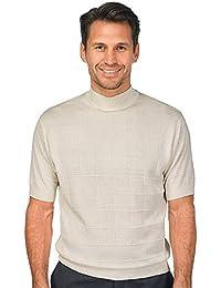 Men's Silk Grid Mock Neck Sweater