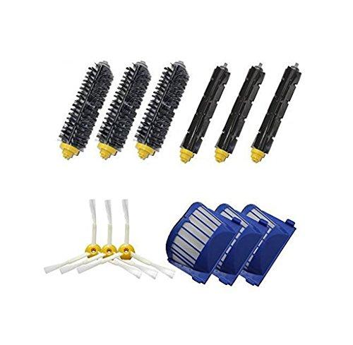 Kit for iRobot Roomba 650, 620,770,780,790 Robotic Vacuum Cleaner Replacement Including 3Pcs Flexible Beater Brushes,3Pcs Bristle Brushes,3Pcs Aero Vac Filters,3Pcs 3-Armed Brushes (9)